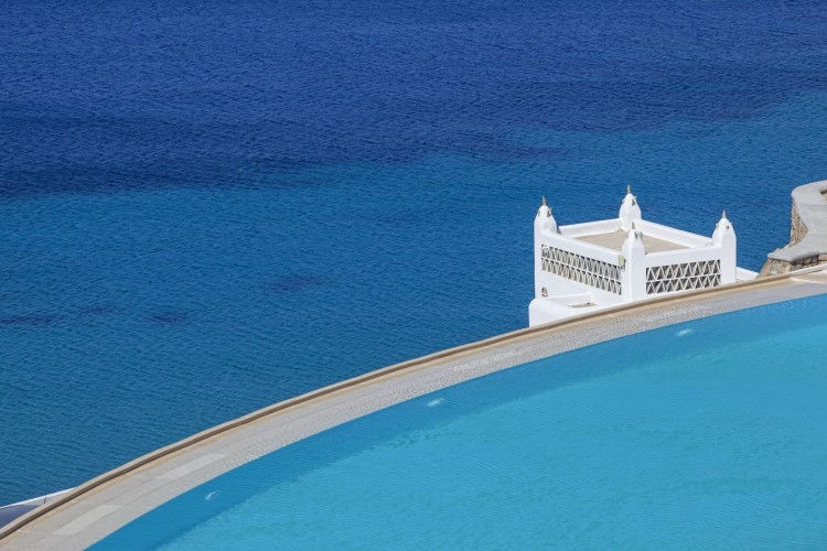 view of the site-pool near the Aegean blue