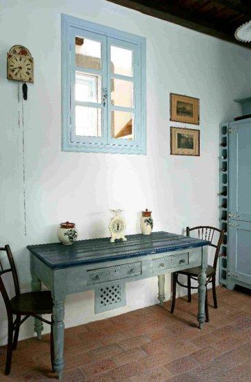 Patmos- Petra Villa Kitchen Sitting Room